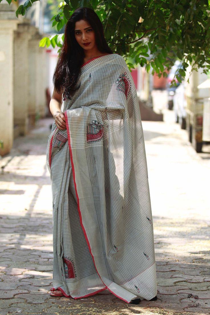 Grey White Red Checks Handloom Cotton Kala Ghoda Saree
