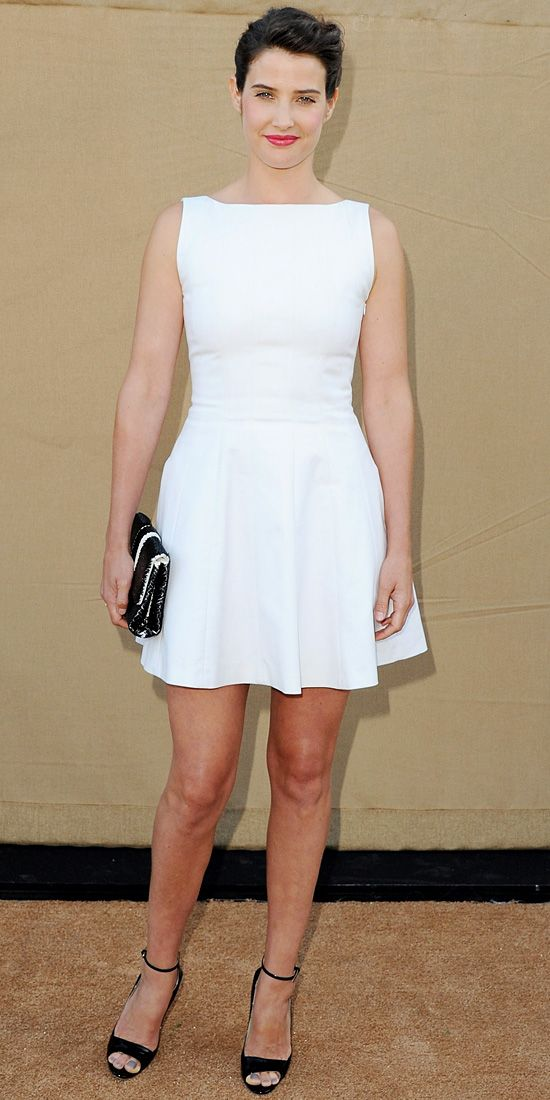 Cobie Smulders  Smulders kept it clean and simple in a crisp white sleeveless skater dress that she styled with black accessories.