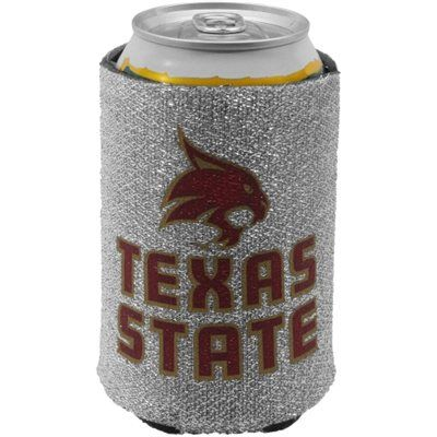 Texas State Bobcats 12oz. Glitter Can Koozie - Silver