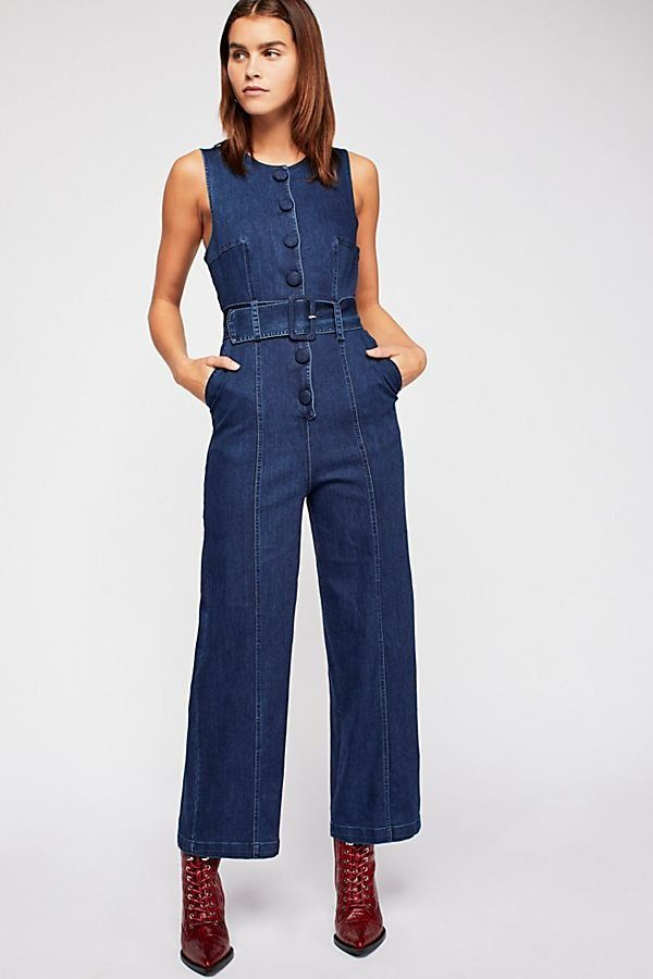 7e03df490637 Maddie Denim Jumpsuit - Dark Blue Denim Sleeveless Jumpsuit with Front  Buttons and Belt