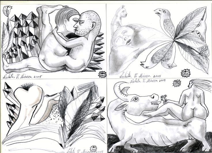 carti postale ilustrate hand made.serie de cinzeci de exemplare unicat, .2