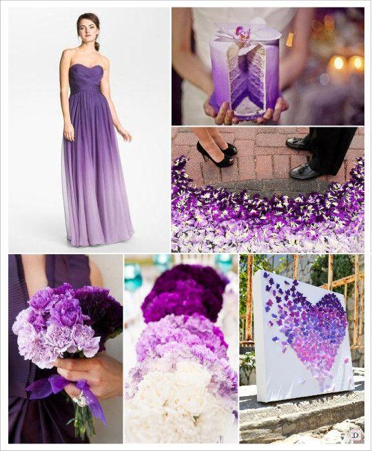 decoration mariage ombre violet parme prune gâteau pièce montée robe de mariée centre de table fleur tableau papillons