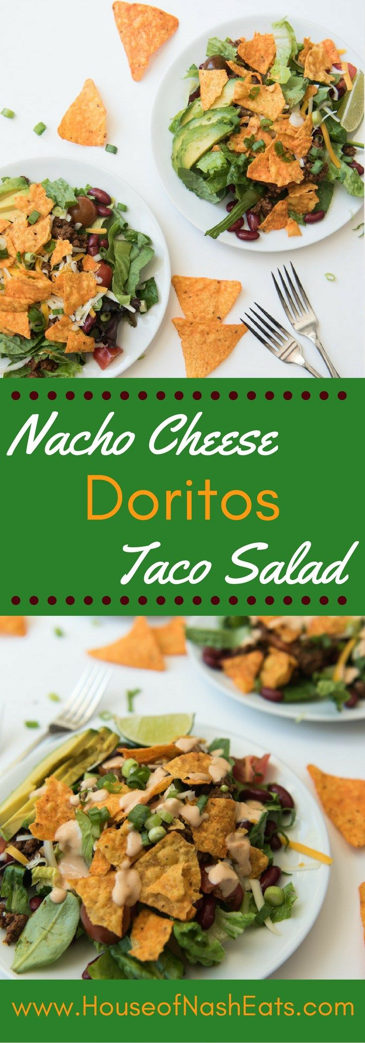 This crazy delicious Tex-Mex Doritos Taco Salad is loaded with taco meat, kidney beans, cheese, avocado, tomatoes and Nacho Cheese Doritos.…