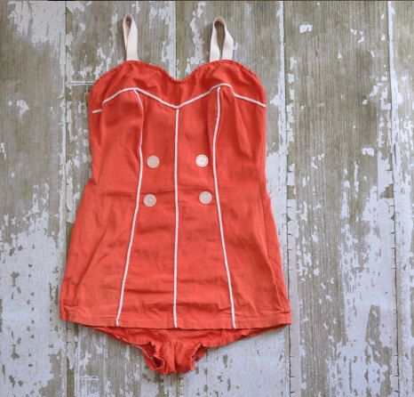 vintage 1950s tomato red Sun Kiss bombshell by simplicityisbliss