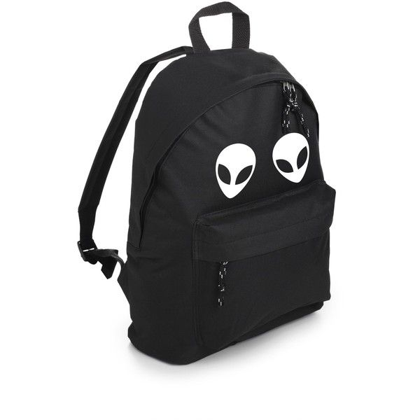 ALIEN BACKPACK ($24) ❤ liked on Polyvore featuring bags, backpacks, goth backpack, hipster backpack, hipster bag, grunge backpack and gothic backpack