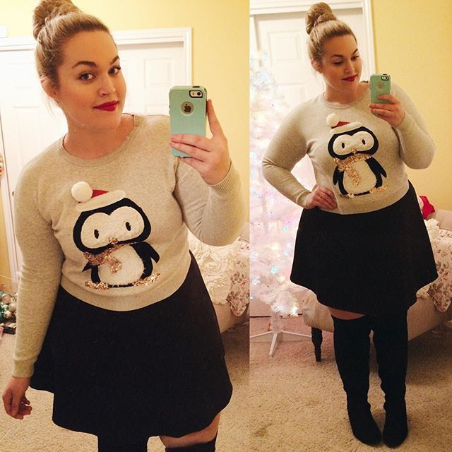 Plus size christmas outfit❤️ Sweater @forever21  Skirt @boohoousa  Boots @wetsealplus  Lipstick @burberry Military Red