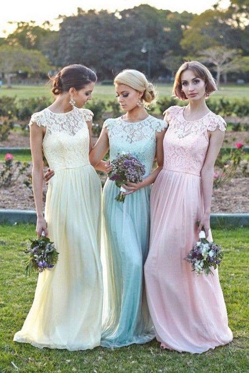 Goedkope Elegante bloemen chiffon lace met korte mouwen modest lange pastel bruidsmeisje jurk, koop Kwaliteit bruidsmeisje jurken rechtstreeks van Leveranciers van China: Zijn gericht op het aanbieden van de beste jurk voor elke klant, zullen wij onze oprechtheid en inspanningen
