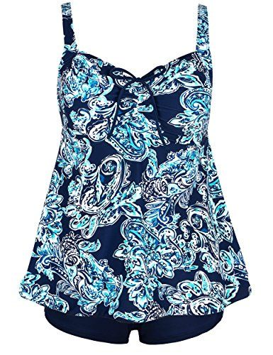 Firpearl Women's Paisley Print Plus Size Tankini Bathing Suit Swimsuit 16 turquoise paisley