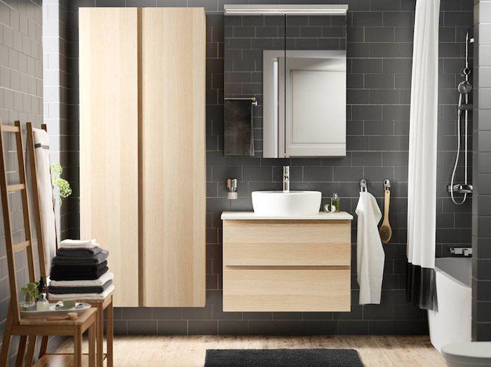 Badezimmergestaltung, Graue Badfliesen, Badezimmermögel Aus Holz