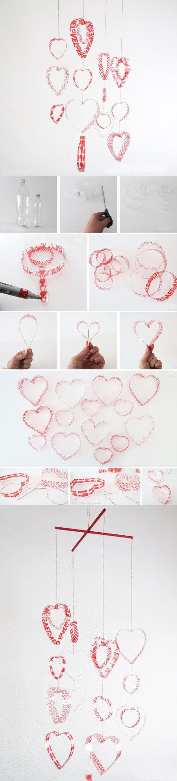 Hanging hearts from plastic bottles.