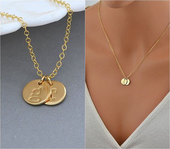 Personalized Disc Necklace Two Initial Necklace by MalizBIJOUX