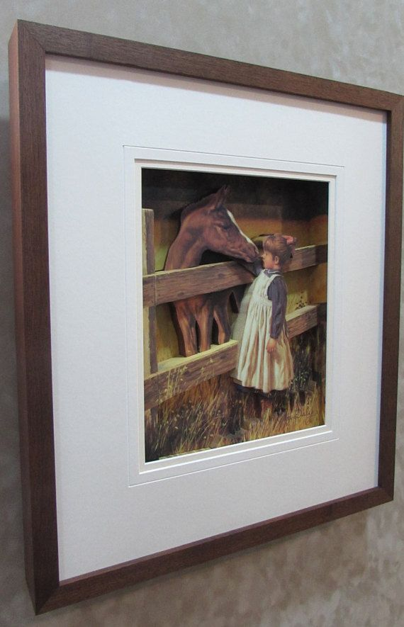 FIRST #LOVE Young Girl in #Field with her #Pony #3D #Horse and #Girl #horse #animal #3dArt #FramedArt #Art