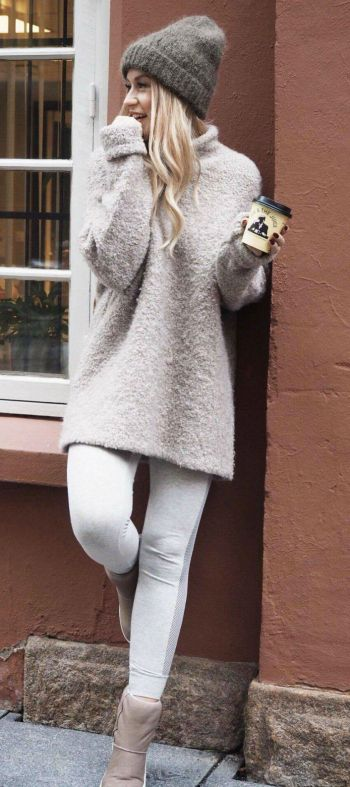 Lene Orvik + sweet and Sunday chic + comfy boots + creamy tunic sweater + athletic wear + lounge wear + white leggings + versatile and adorable.