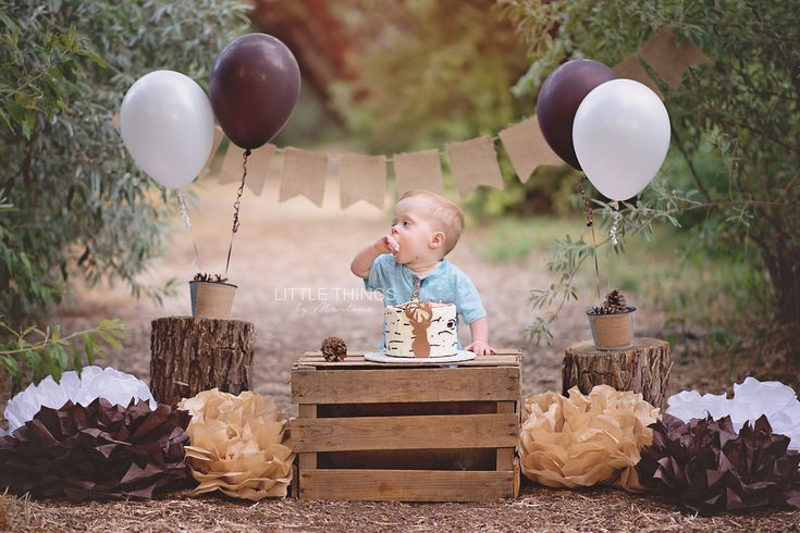 Little Things by Marlena - Boise Idaho Newborn Photographer. outdoor cake smash. rustic cake smash. deer cake. smash cake. brown, white birthday theme. first birthday photos. boise baby photographer.