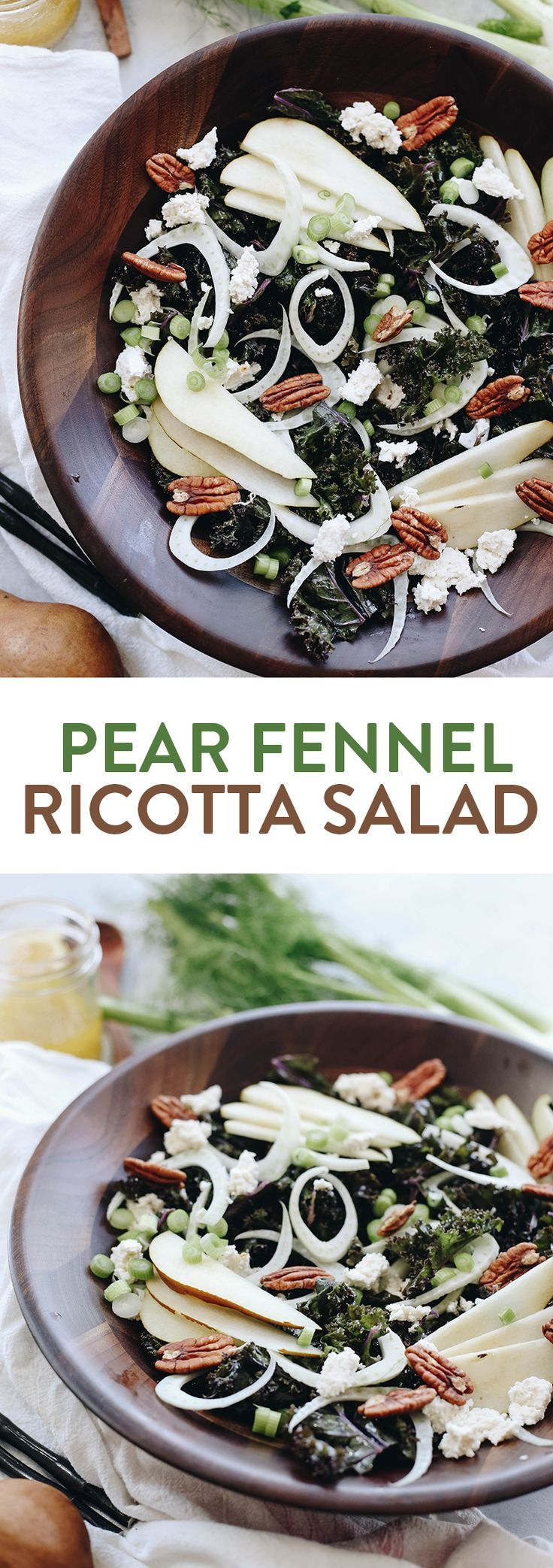 A crisp fall salad on a bed of massaged kale, this Pear Fennel and Ricotta Kale Salad will make dinner prep a breeze for those cooler and darker fall evenings
