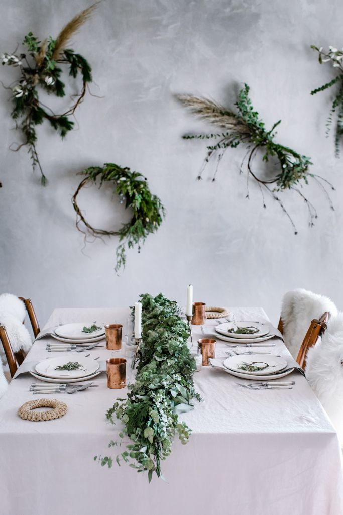 local milk christmas table + wreath diy