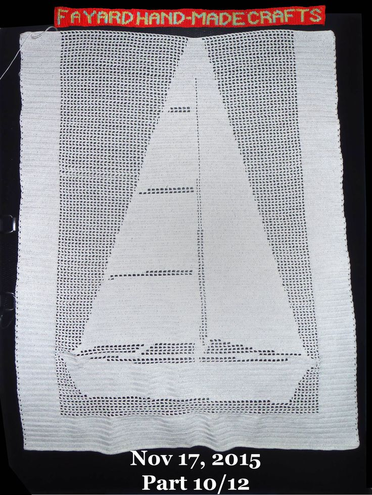 Nov 17, 2015. Filet Crochet Boat Curtain, Part 10/12. Evidently ch's are faster, and smaller, than dc. #FiletCrochet #CrochetPicture #Commission