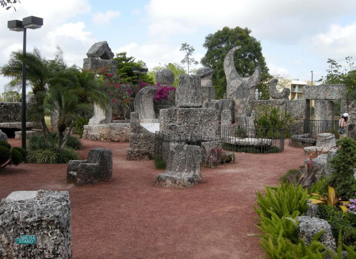 2. Coral Castle in Homestead, FL, was built by a lovelorn Latvian man by hand as a tribute to an unrequited love. He lived in the formations made of stone he sourced and built all by himself, giving tours to the public until he died. Article speaks of 13 other places in the Sunshine State, Florida.