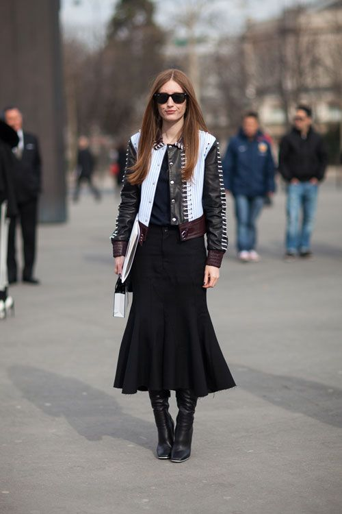 Как носить годе Paris Street Style Fall 2013 - Paris Fashion Week Style Fall 2013 - Harper's BAZAAR