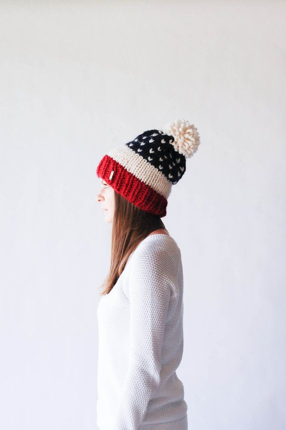 Fair Isle Knit Slouchy Ski Hat With Pom Pom Stars and Strips USA / THE ALPINE / Cranberry Fisherman Navy