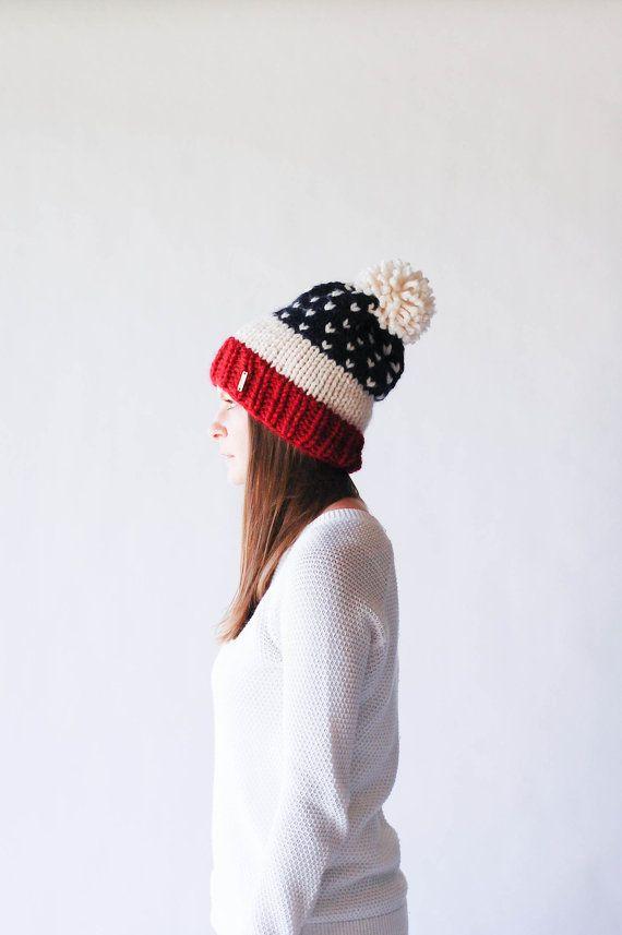 Fair Isle Knit Slouchy Ski Hat With Pom Pom Stars and Strips USA / THE ALPINE / Cranberry Fisherman Navy