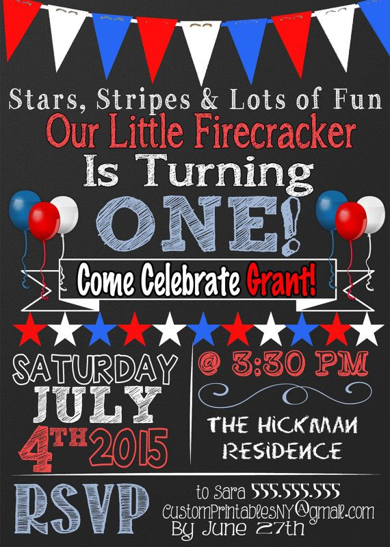 July fourth themed birthday party kids red by CustomPrintablesNY