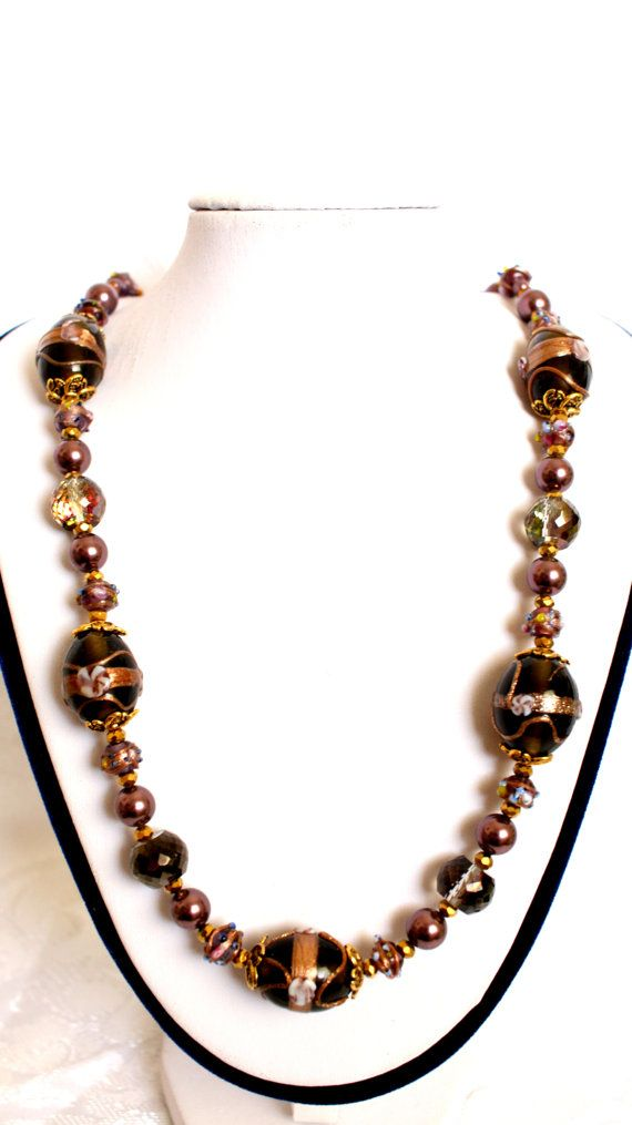 "Very elegant One of a kind handmade necklace Venetian Murano Glass Wedding Cake beads 20/15 mm Swarovski Burgundi crystal pearls 18K Gold plated Clasp Length: 57 cm (22.4"") The Item will be shipped with an economy post service with a tracking number."