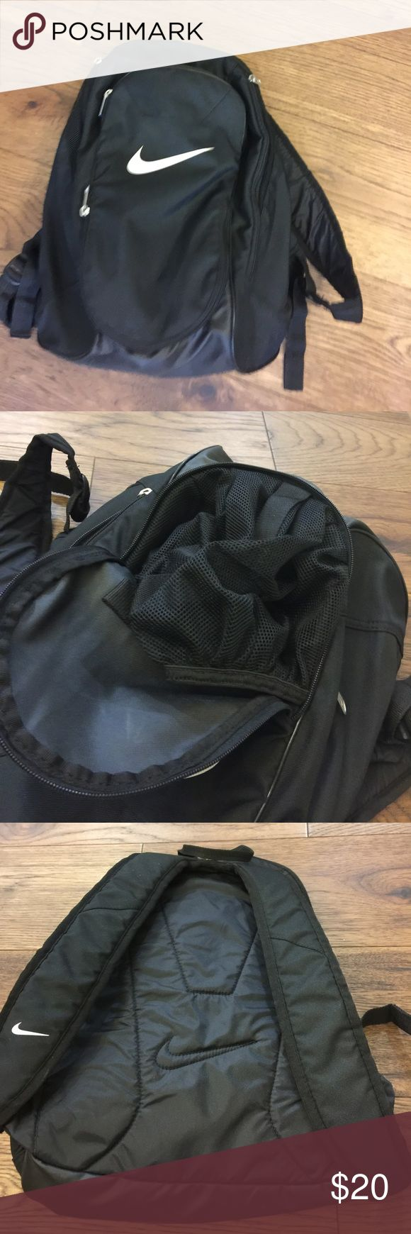 Nike Soccer Backpack, black. EUC. Like new Nike soccer backpack. Pocket in the front for the ball, individual shoe pockets in each side, and a big main compartment for clothes. Nike Bags Backpacks