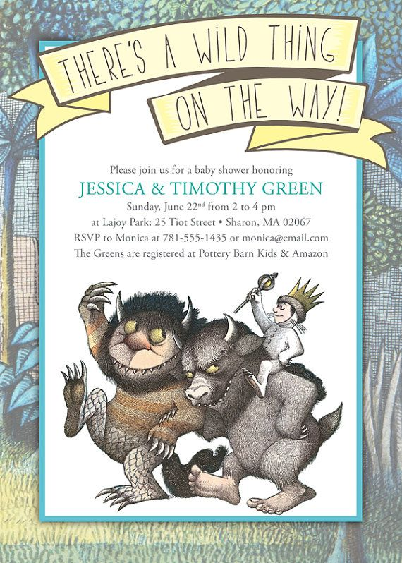 109 best where wild things are images on pinterest | the wild, Baby shower invitations