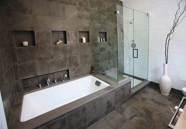 Dark bathroom  Raleigh-Greenville NC Bathroom Tile Photos & Ideas | Byrd Tile: Nice Bathroom, Dreams Bathroom, Bathroom Wall, Google Search, De Bain, Bathroom Ideas, Mooie Tegel, Bad Dat, Wall Ideas