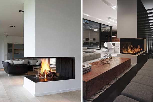 resultado de imagen de chimeneas separando espacios casa