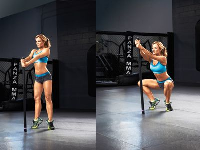 Diamond Squat Works: Glutes, inner and outer thighs ● Stand with your heels six inches apart and toes turned outward. hold a body bar perpendicular to the floor in front of you with your arms extended. rise onto the balls of your feet. ● Remaining on your toes, engage your abs and then squat down until your thighs are parallel to the floor and your legs create a diamond shape. ● Rise back up to standing, squeezing your inner thighs and glutes throughout. Repeat for two sets of 25 reps.