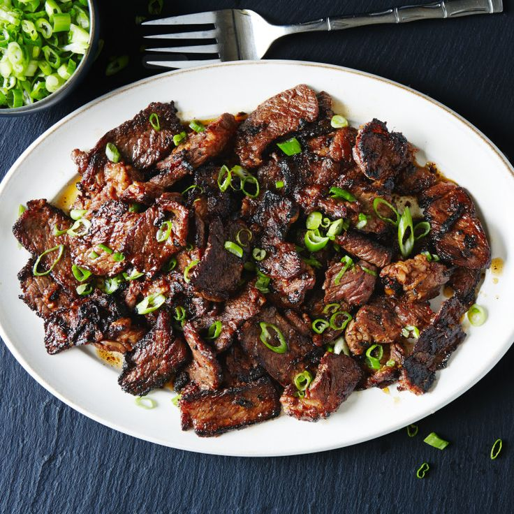Cutting the meat into very thin strips allows it to absorb the hot-sweet-salty marinade in minutes, not hours.