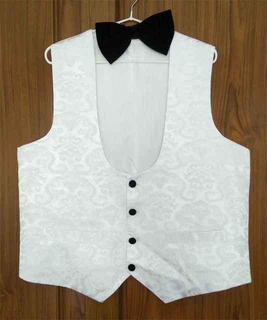 Airtailors Brand Mens Suit Vests White Mens Floral Blazer Designs Slim Groom Vests Prom Custom Made Wedding Vest Waistcoat Men