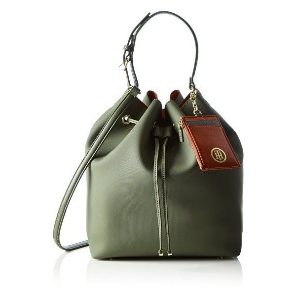 Tommy Hilfiger Women's LOVE TOMMY TH BUCKET SOLID Top-handle Bag (£125) ❤ liked on Polyvore featuring bags, handbags, bucket bags, green handbags, multicolor handbags, multi coloured bags and multi color purse
