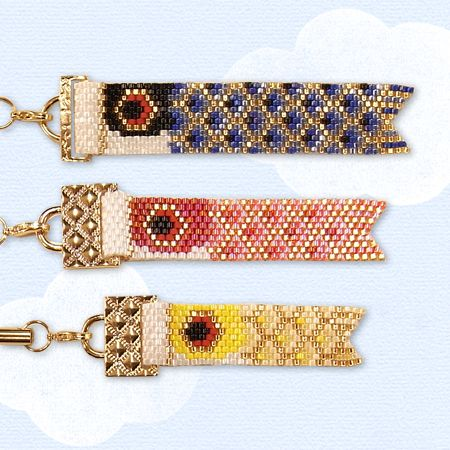 koinobori {carp flag} cell phone straps! it's just peyote stitch in a certain pattern with a zip fold to attach it to the strap. :3