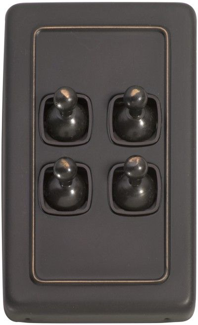 4 Gang Toggle Light Switch - Brown Toggle Base