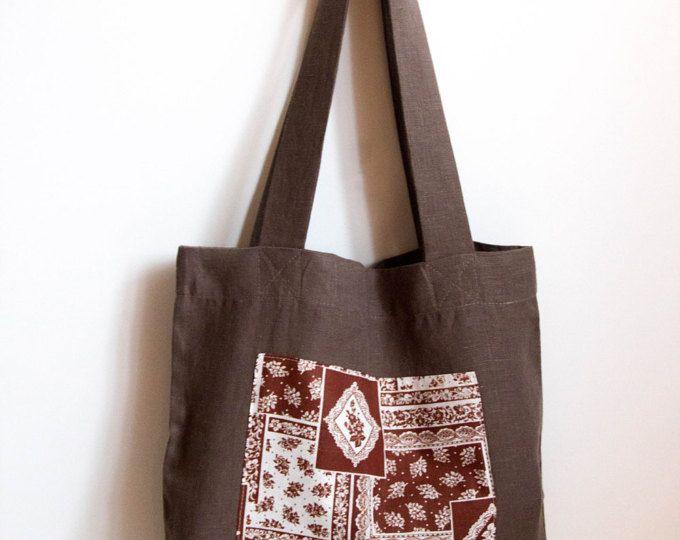 Beidseitige Leinenhandtasche – Schwarz-weiße Einkaufstasche – Designer-Einkaufstasche – Schwarze Einkaufstasche – Einkaufstasche – Sommertasche