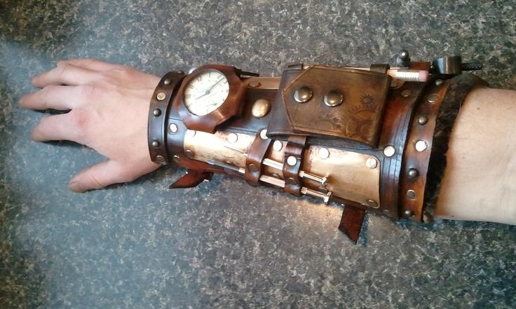 Steampunk mechanics gauntlet leather brass