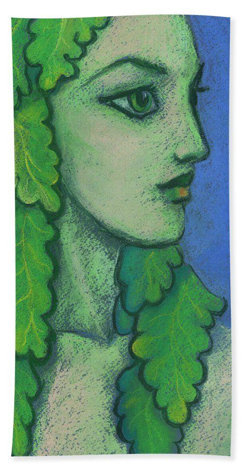 Balanis / Hamadryad  Beach Towel  Balanis is the nymph of acorn-bearing trees. Beautiful girl with the green oak leaves instead her hair.   Fantasy art / illustration, pastel painting, soft pastels on paper, 2017.  © Clipso-Callipso / Julia Khoroshikh  #dryad #Hamadryad #fantasyart #bigeyes #green #foliage #goddess #pagan #clipsocallipso  #towel #beach