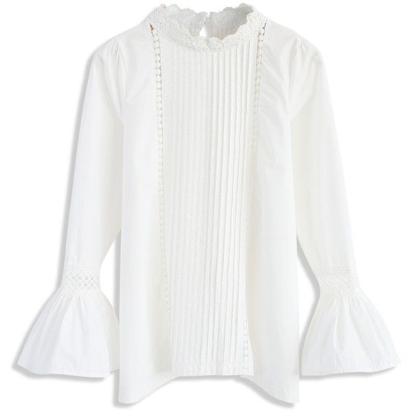 Chicwish Ever Charming White Smock Top with Bell Sleeves ($45) ❤ liked on Polyvore featuring tops, white, crochet bell sleeve top, white crochet top, keyhole cut out top, white bell sleeve top and pleated top