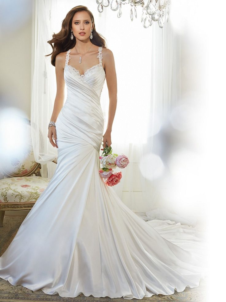 Lace straps frame the sweetheart neckline of Sophia Tolli