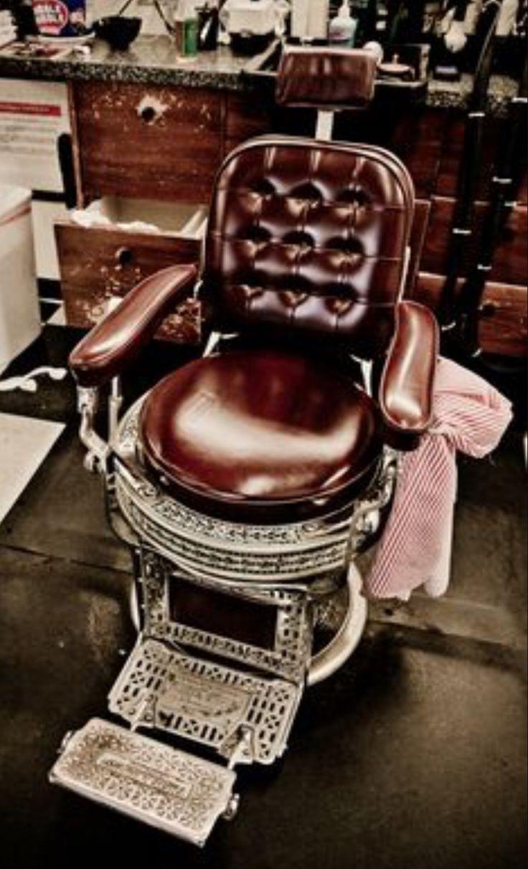 Vintage barber shop chairs - Vintage Leather Barbershop Chair With Metal Casing