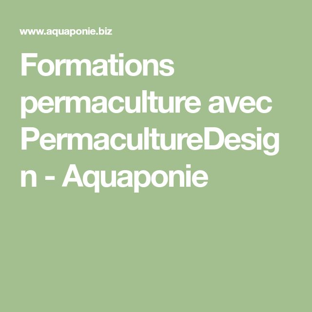 Formations permaculture avec PermacultureDesign - Aquaponie