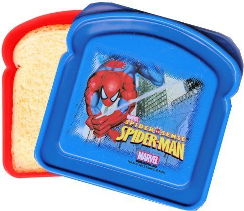 Spiderman 2012 Sandwich Keeper by Zak! Kids. $4.75. Sandwich box measures about 4.75 inches x 4.5 inches by 1.5 inches high.. Officially licensed Marvel Comics sandwich keeper featuring Spiderman 2012!. Constructed of stain resistant durable materials that will last wash after wash.. Sure to delight any Spiderman fan!. Dishwasher safe (top rack). BPA-free product; food safe.. Officially licensed Marvel Comics sandwich keeper featuring Spiderman! Sandwich box measures about 4.75 i...