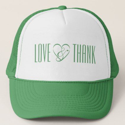 Love Thank Your Head Good Vibes White Green Trucker