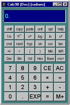 Calc98 is a pocket calculator simulator program for the Microsoft Windows operating system. It includes a comprehensive set of conversions, constants and physical property data, a built-in periodic table of the elements, number base conversions, vectors, matrices and complex numbers. It is especially designed for scientific and engineering users, students and teachers and it is also widely used in finance and medicine.