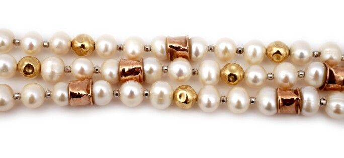 Sumptuous pearls with rolled gold beads at The Maggie White Shop