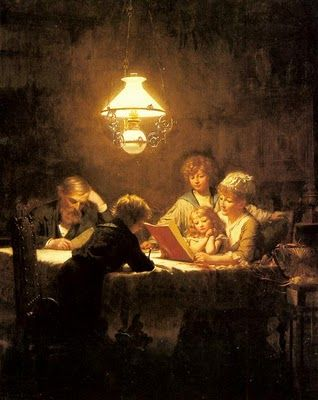 Knut Ekvall - The Reading Lesson  This is family, what I think of rather than everyone in their own room doing their own thing. This is how it should be.....
