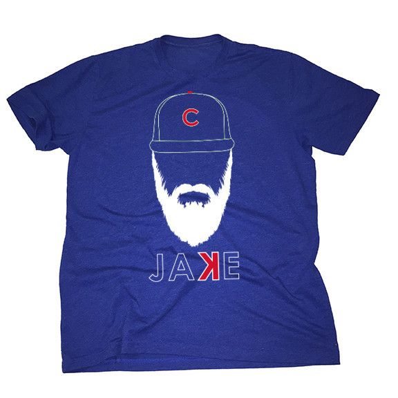 """Jake Arrieta - Beard - Chicago Cubs - Get your playoff beard going in this Jake Arrieta backwards """"K"""" - the softest, smoothest, best-looking Chicago Cubs t shirt available anywhere.  Printed on Next Level Apparel - Vintage Royal, Tri-Blend Crew T Shirts.  Made of 50% polyester / 25% cotton / 25% rayon, this ultra lightweight crew is by far and away our softest shirt.   Available in sizes S-2XL."""